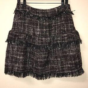 Halogen tweed fringe skirt multicolor Sz 8